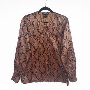 Vintage Escada Paisley Silk Blouse Mandarin Collar